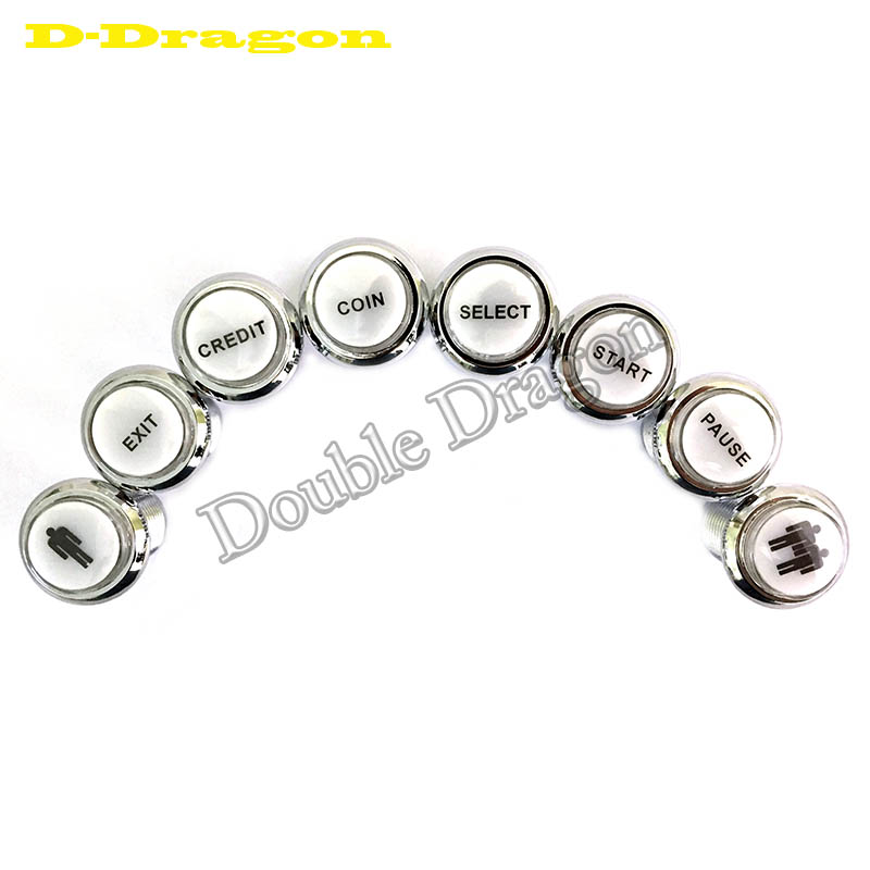 CHROME Arcade Push Button Silver Plated With Micro Switch 33mm 12V Illuminated 1P 2P START PAUSE EXIT CREDIT COIN SELECT