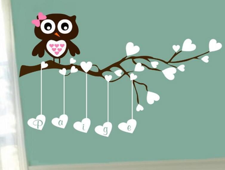 C029 New arrived Owl Name Wall Decal Baby Girl Boy Vinyl Branch Decor Vinyl Wall Stickers Mural Home Decal