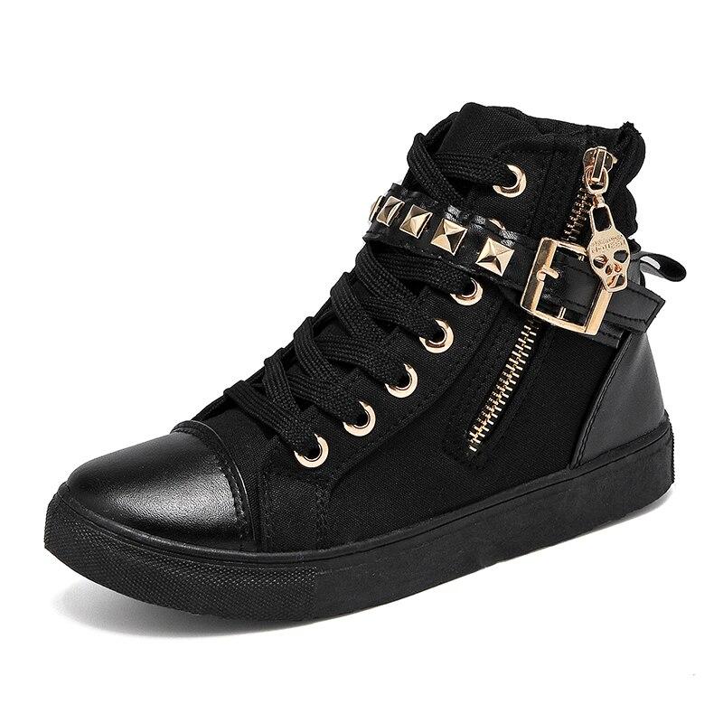 YeddaMavis Shoes Black Rivet High Top Canvas Women Sneakers New Korean Side Zipper Womens Woman Trainers