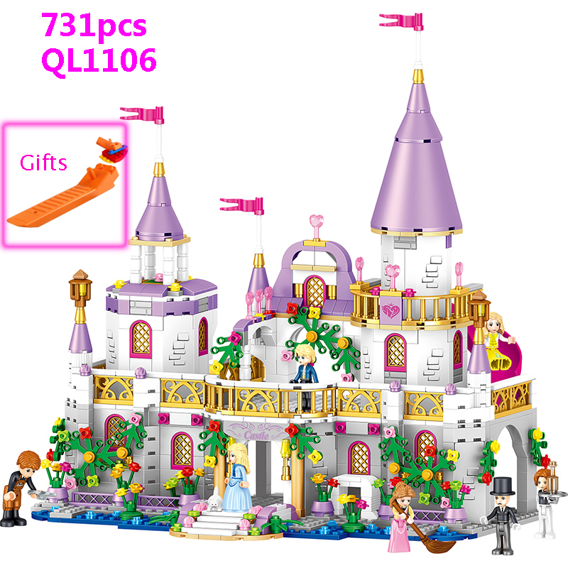 731pcs Romantic Princess Castle Building Blocks Compatible With Legoed Girl Toys Gifts Kids Assembling Brick Friend Model Toys-in Blocks from Toys & Hobbies
