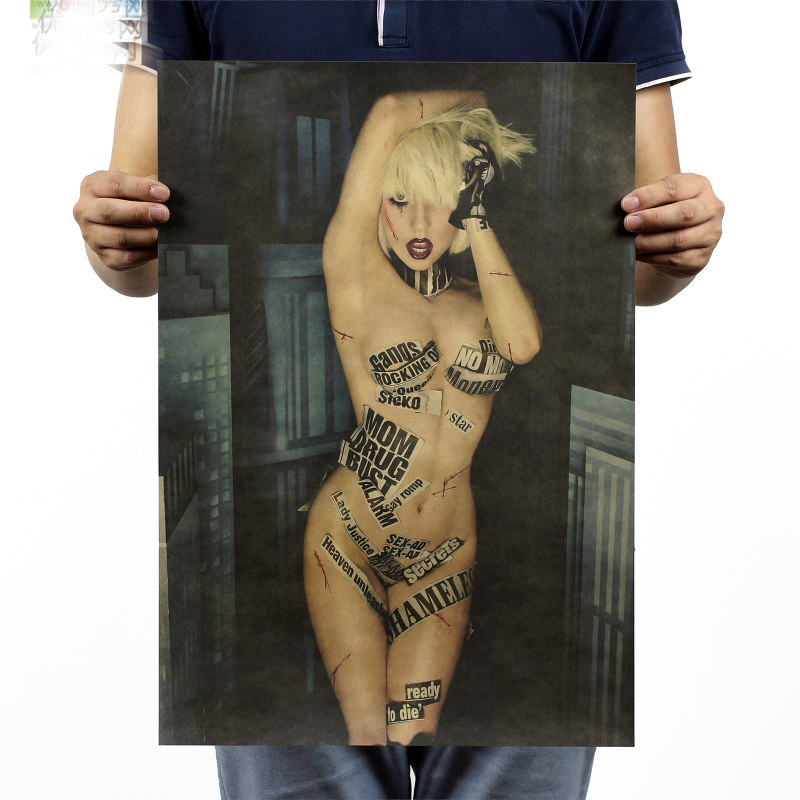 TOP COOL -2 piece Lady Gaga nude art  vintage retro poster print art- HOME bar coffee house Decor ART --Free shipping cost