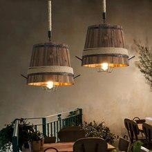 Mỹ Retro THÙNG GỖ đèn chùm đèn chùm thanh Câu Lạc Bộ cafe phòng ngủ ánh sáng sáng tạo trang trí cà phê nhà hàng Mặt dây chuyền đèn