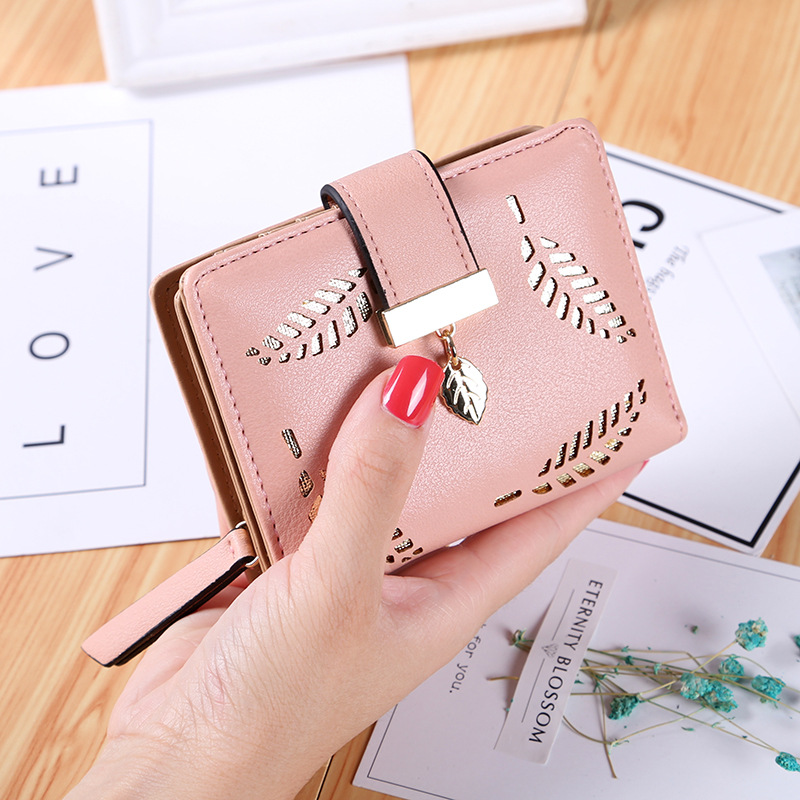 New womens wallet short ladies zipper buckle hollow leaf  and women zippercard package