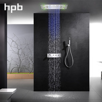 HPB ceiling mounted led 3way rainfall waterfall shower faucets sets with thermostatic 3 function mixing valve 008G 50X36PG K
