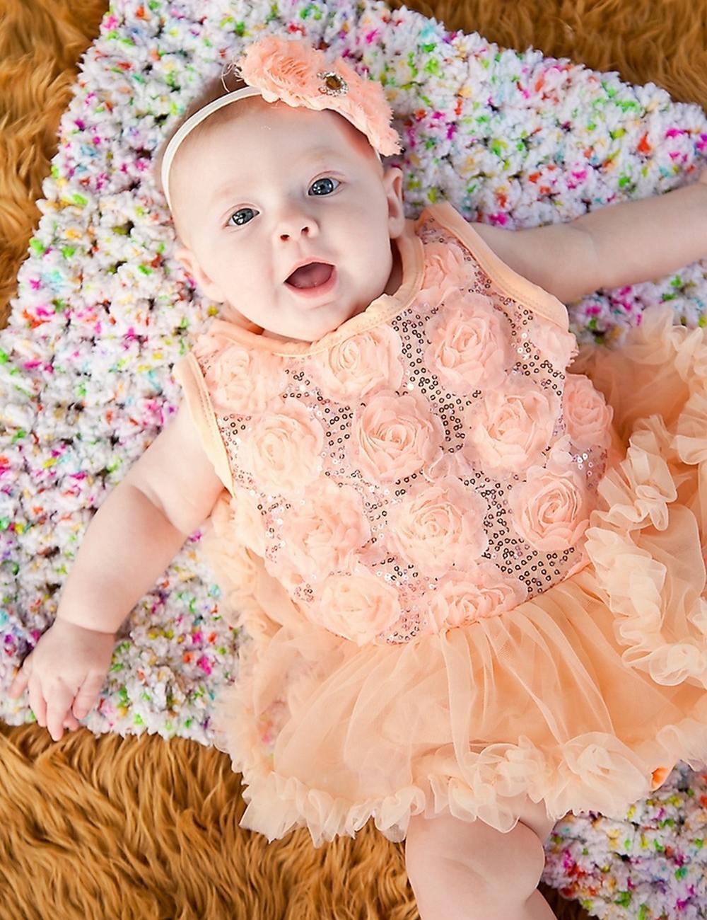 Babykleidung Baby Pfirsich Sequinned Romantische Rosetten Bodysuit ...