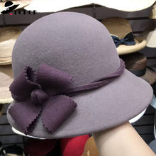 11775d3f0538c FGHGF Women Wool Felt Hat Wide Brim Winter Hat Vintage Style Cloche Wool  Fedoras Ladies Dress Hat Church Wedding Formal Hat