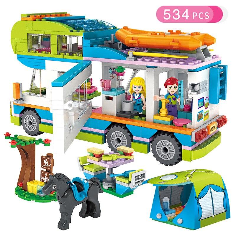 Amis Série Coeur Lac Ville Filles Club Rue Blocs de Construction Rose Gâteau Café Bleu Camping-Car Compatible Legoings Ami Jouets Cadeau