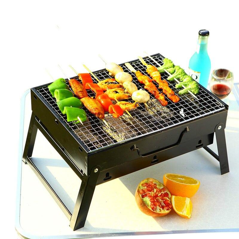 1 Set acier extérieur pliant Barbecue grille fil mailles Portable ménage charbon de bois grilles pour Camping feu de camp BBQ outils