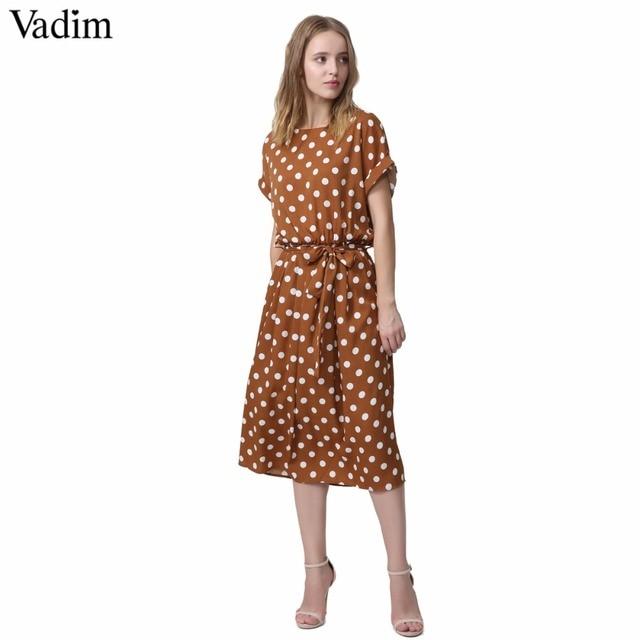 4670bf92f8 Vadim vintage nœud papillon ceintures dot motif robe mi-longue taille  élastique à manches courtes