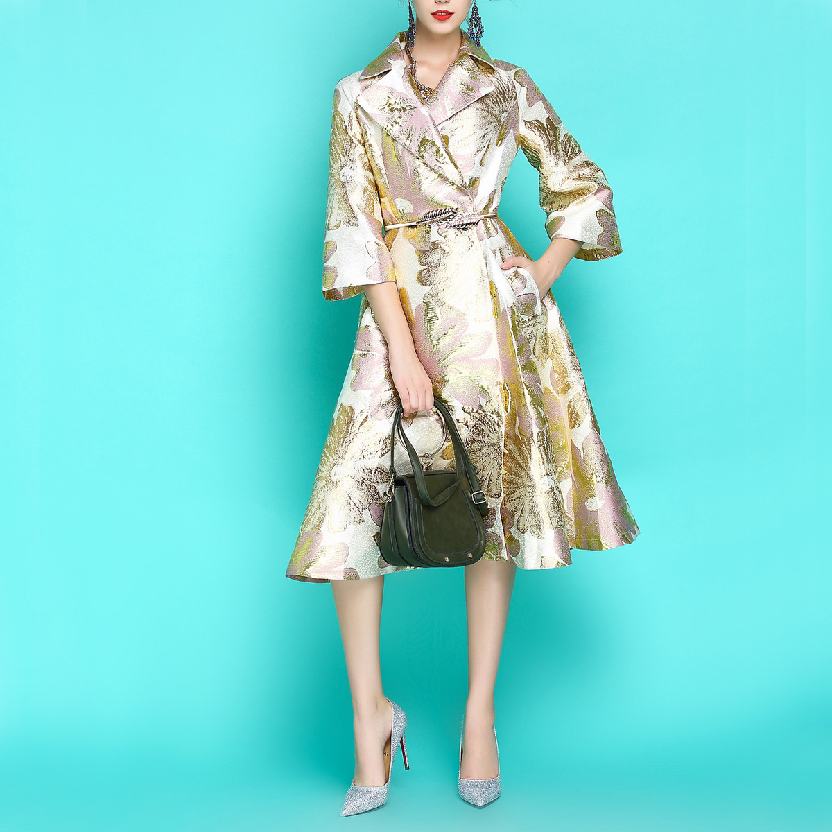 2018 New Fashion Autumn Vintage Women's Purple Jacquard Embroidery Luxury Windbreaker Long   Trench   Coat 3/4 Sleeve Slim Outwear
