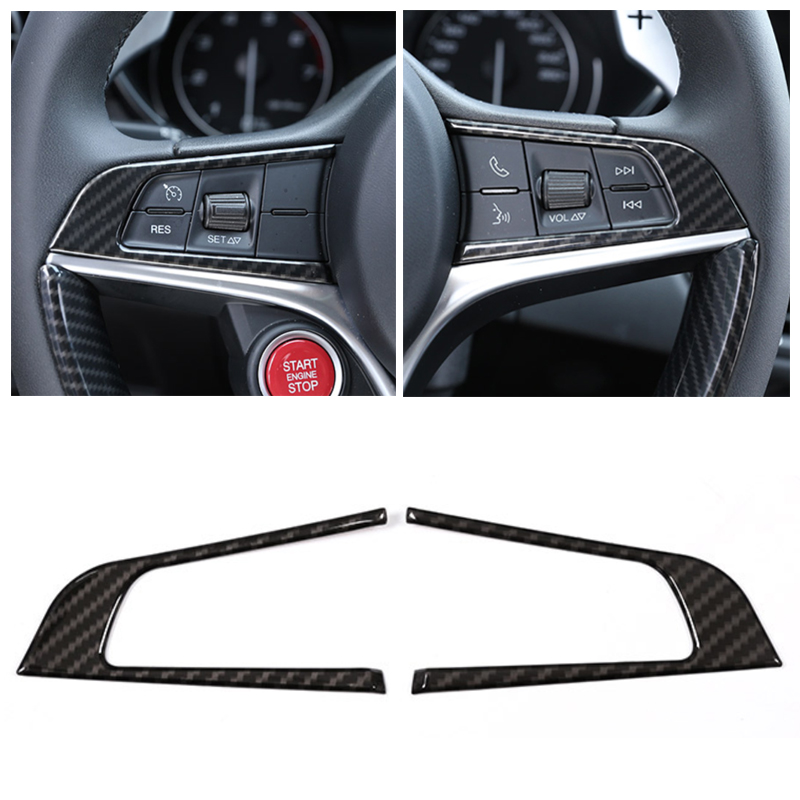 2pcs Car Carbon Fiber Texture Steering Wheel Button Trim