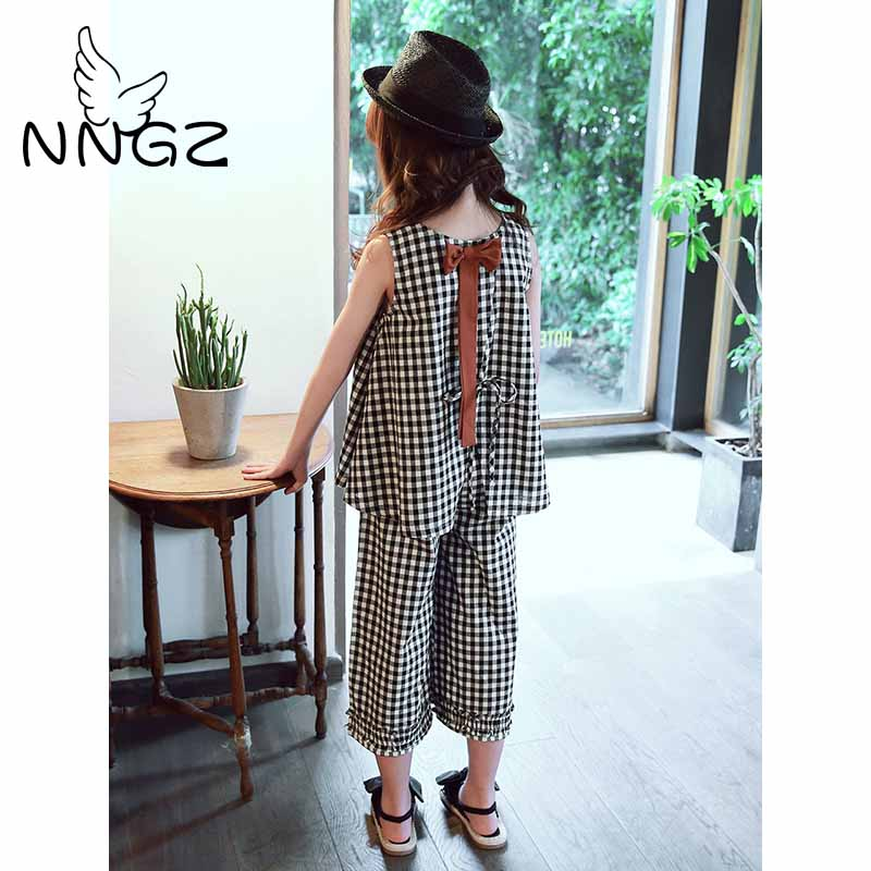 NNGZ Ladies Clothes Units Children Garments Go well with Summer season Cotton Vest Two-piece Sleeveless Kids Units Informal Trend Ladies Garments Su Clothes Units, Low-cost Clothes Units, NNGZ Ladies...