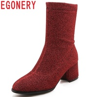 EGONERY women shoes 2018 new fashion sexy sequined colth high hoof heels zipper round toe four colors mid calf boots size 34 43