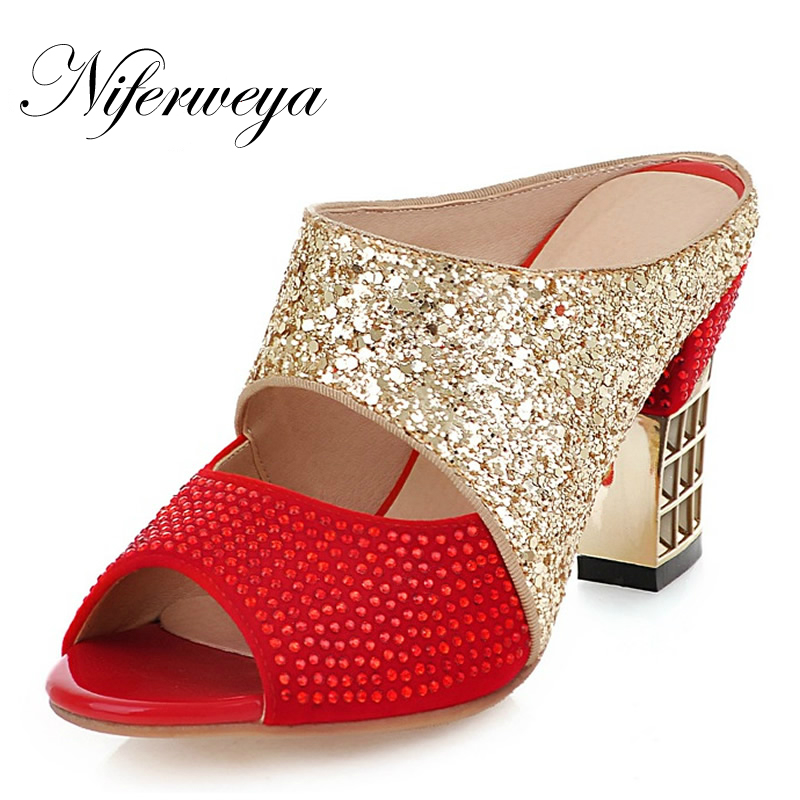 2018 New fashion summer women shoes Mixed Colors flock thick heel high heel Slides Rhinestone decoration sandals big size 33-43 2017 summer new women sandals slipper shoes fashion rhinestone thick high heel female slides snadals black plus size shoes xp35