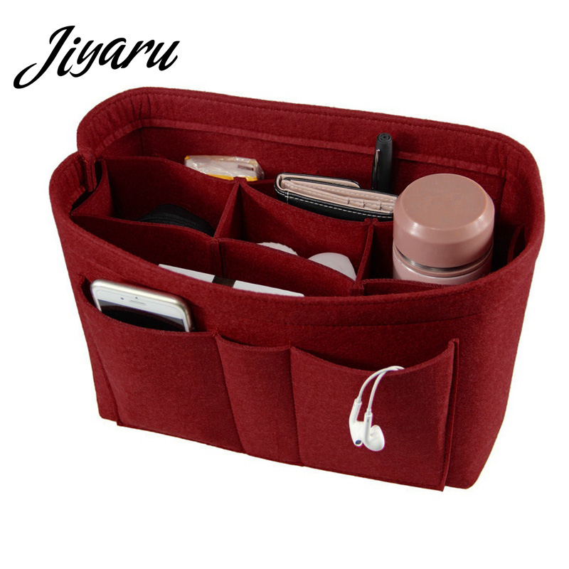 Mujer maquillaje organizador fieltro tela inserte bolso de las mujeres bolsa de cosméticos bolsa de maquillaje para mujeres de viaje