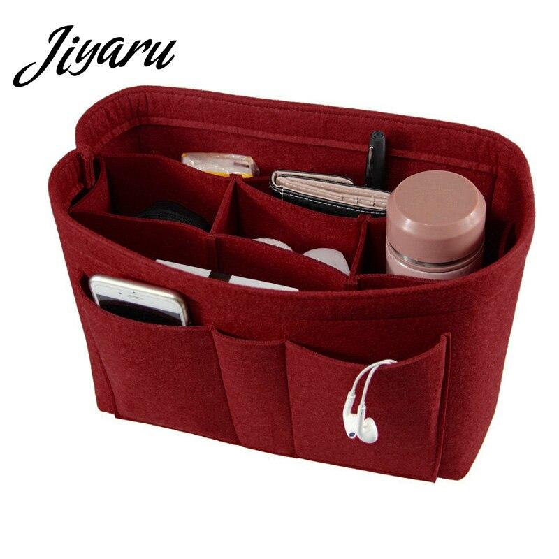 Womens Makeup Organizer Felt Cloth Insert Bag Multifunctional Women Cosmetic Bag Makeup Bag for Ladies Travel Organizer