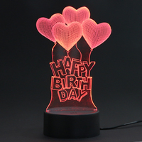 3D Visual Light Happy Birthday 3D Heart LED Night Light For Christmas USB Touch Table Lamp