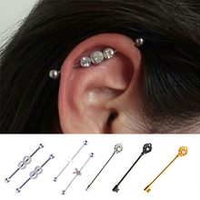 Fashion Earings For Women 316L Surgical Steel Industrial Bar Scaffold Barbell Ring Body Piercing Jewelry Long Diverse