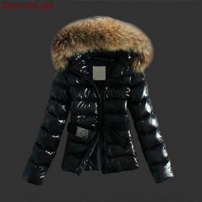 Winter Jacket Women Short Cotton Coats Plus Size S-xxl Glossy Black   Parka   Coat Faux Fox Fur Collar Hooded Warm Female Jacket