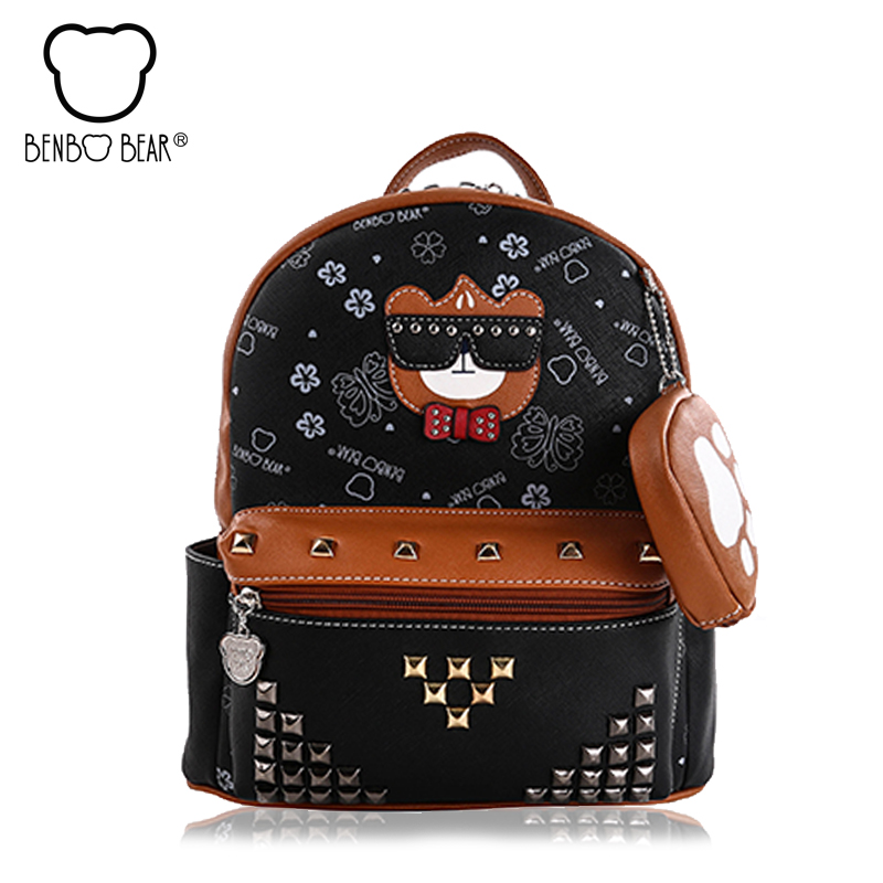 Brand Benbo bear High Quality PU Leather Backpack Women Fashion School Bags for Teenage Girls College