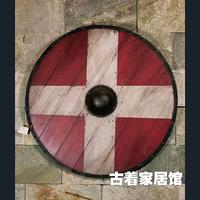 The European medieval Viking retro simulation antique wooden shield / bar coffee restaurant hanging decoration