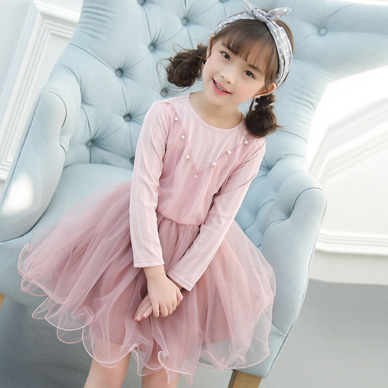 Spring winter Girls Dress 2018 Casual Long Sleeves lace Mesh Patchwork Kids Dresses For Girl New Year Clothing Princess Dress 2016 spring winter children baby kids girls stripe princess lace mesh dress girls fall sleeveless dresses kids dresses for girls