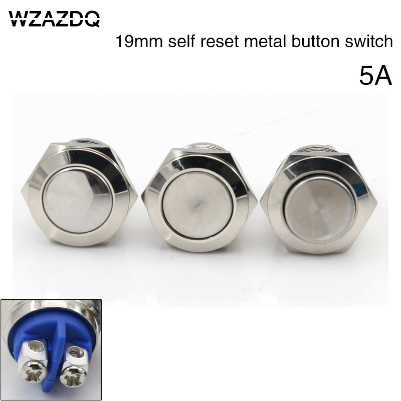 19 mm flat head metal button switch reset button doorbell screw waterproof copper plated nickel 50pcs lot 6x6x7mm 4pin g92 tactile tact push button micro switch direct self reset dip top copper free shipping russia