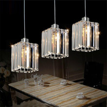 цены LED Crystal Pendant Light Dining Room Lamp 3Head Square Pendant Light Fixture Bar Dinning Room Lamp Hanging Ceiling Kitchen Lamp