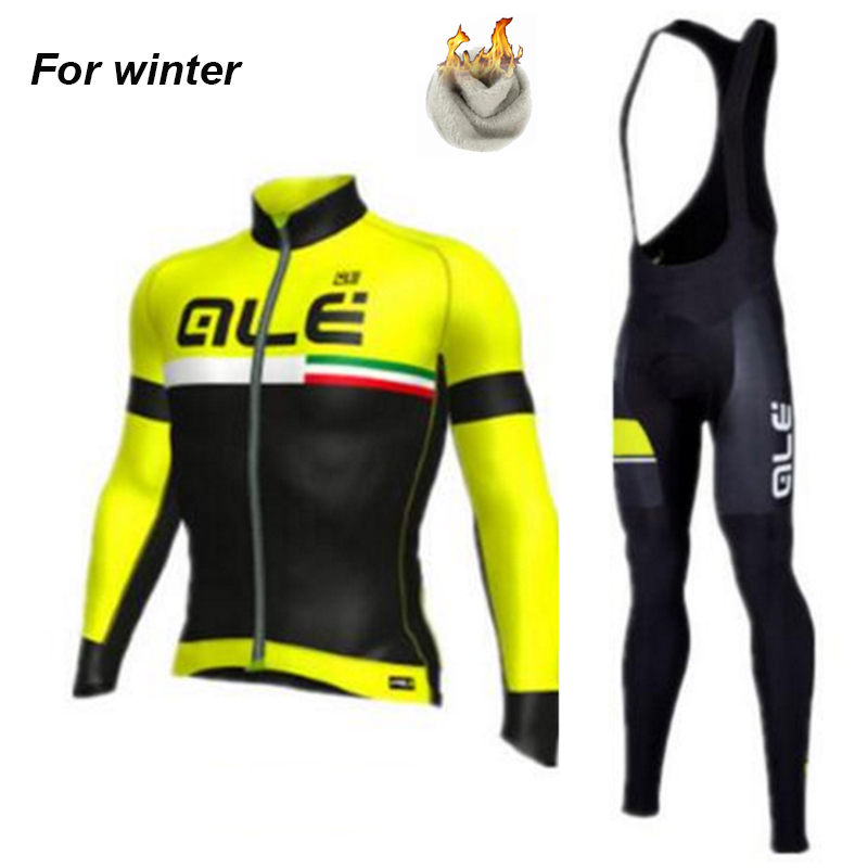 2017 Ale Team Men`s Winter Thermal Fleece Four Color Cycling Jersey Set Outdoor Sport Co ...