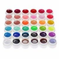 Professional 36 Pure Colors 8ml Nail Art Glitter UV Gel Acrylic Builder Glue Solid Polish Gel