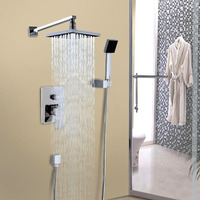 8.7 Wall Mounted Rainfall Shower Head Arm Control Valve Handspray Faucet Set Bathroom High Pressure Shower Set Ship from USA