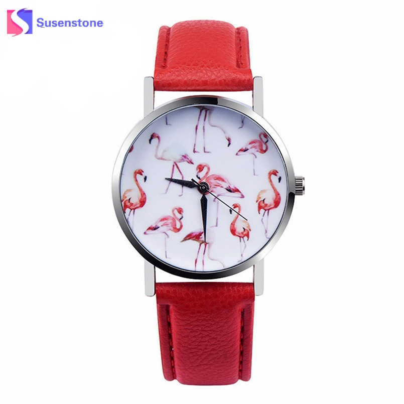 New Watches Women Fashion Flamingo Printed Leather Strap Analog Quartz Wrist Watch Women 2017 Vogue Ladies Casual Watch Relogio watch women vintage floral printed fabric cloth strap ladies bracelet watches analog quartz wrist watch relogio feminino