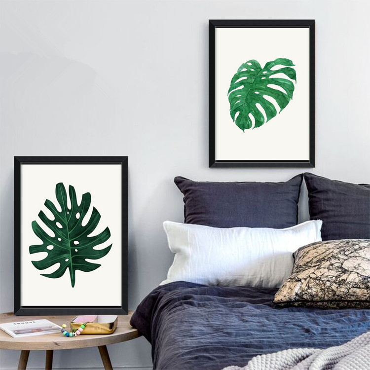 Green leaf monstera plants quote modern poster canvas art prints wall pictures for living room Canvas prints for living room