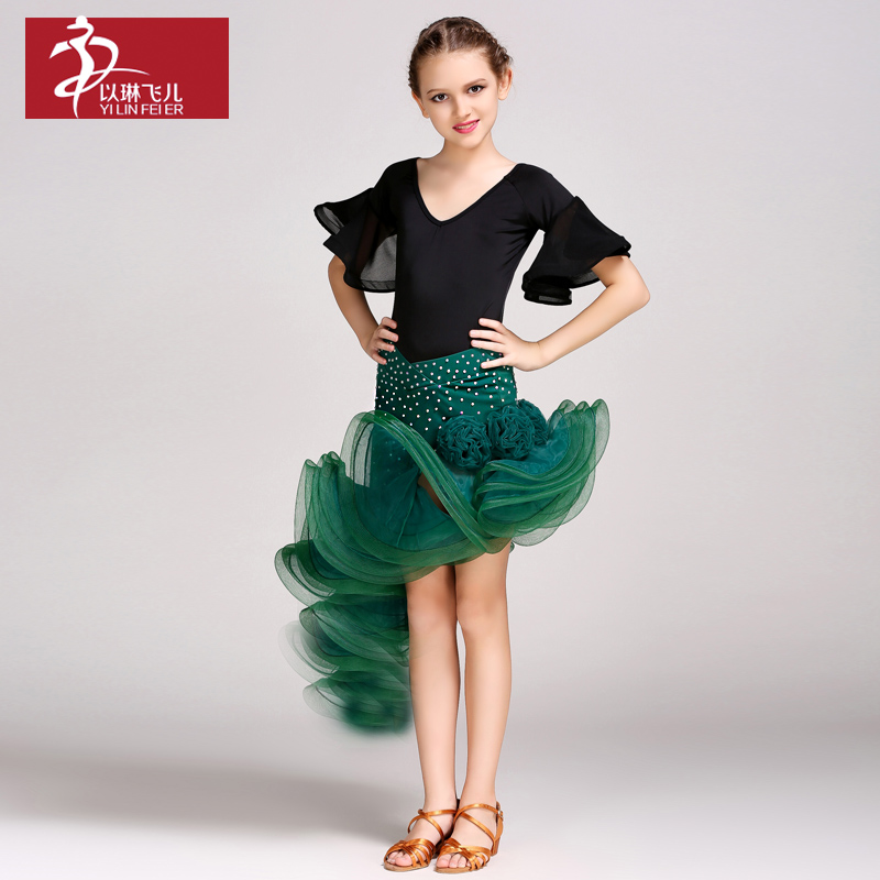 New Sale kids girls Fashion Latin Dance Costume Tango Rumba Chacha dance performance competition suits top+skirt FY1037+1013