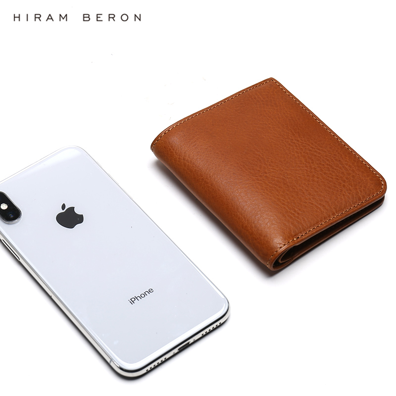 Hiram Beron Free Custom Name Men Leather Wallets Male Purse Credit Card Holder RFID blocking Wallet Gift for Holiday