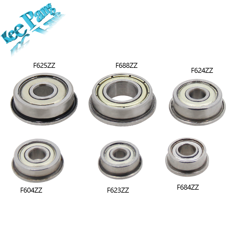10pcs Flange Ball Bearings F604ZZ F623ZZ F624ZZ F625ZZ F684ZZ F688ZZ 3D Printers Parts Deep Groove Pulley Wheel Aluminium Part anet f623zz 10pcs deep groove flange ball bearing for 3d printer