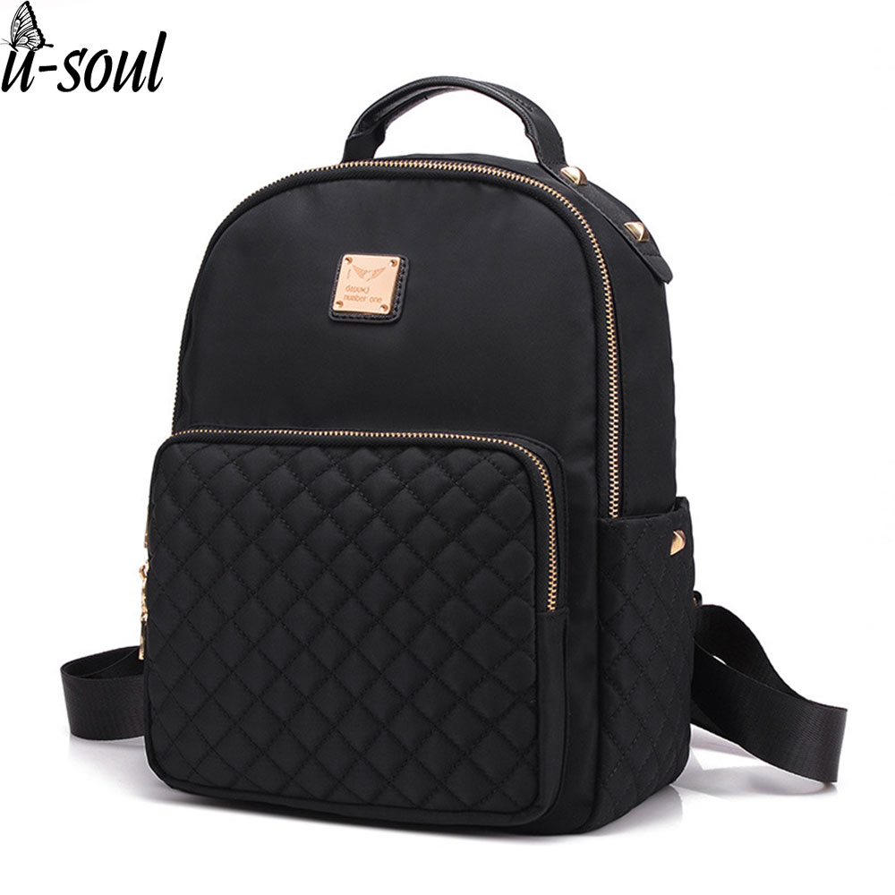 Female Backpack Preppy Style Nylon Women Backpack High Qulaity Shoulder Bags Student Bag Black Backpack A2217(China)