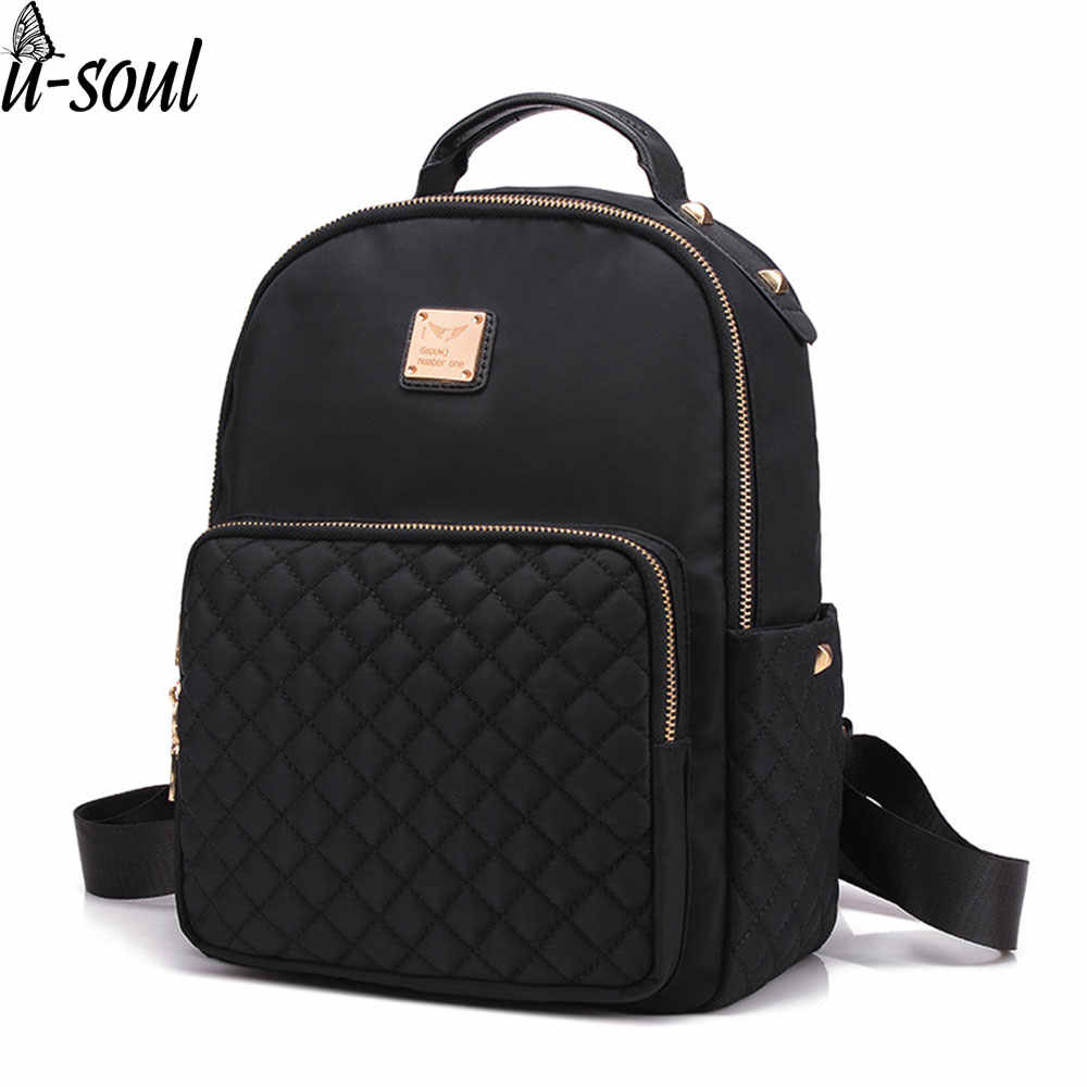 Female Backpack Preppy Style Nylon Women Backpack High Qulaity Shoulder Bags Student Bag Black Backpack A2217