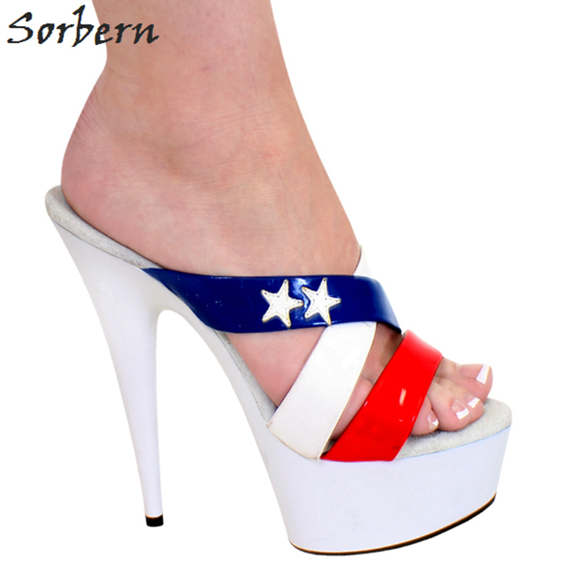 Sorbern Mix Colors Summer Shoes Women Slippers Cross Straps Shoes Women Slippers Summer Platform 15Cm High Heels 5Cm Platform