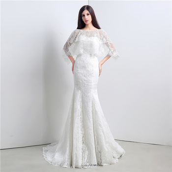 New Arrival Gorgeous Wedding Dresses Mermaid Fringe Lace Cape Sexy Winner Autumn Wedding Gown Floor-Length Dress pulma kleit