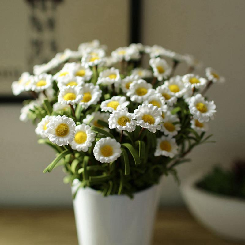 1 bouquet 8 heads artificial fake daisy silk flower home for Artificial flower for wedding decoration