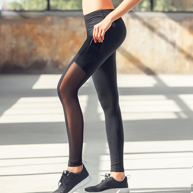 New Womens Yoga Pants with Pocket High Waist Running Sports Gym Quick Dry Leggings Mesh Fitness Workout Phone Bag Girls Tights