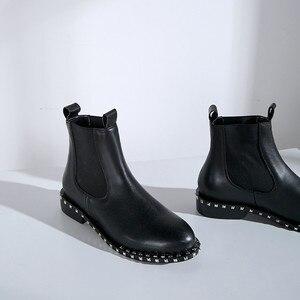 Image 5 - MORAZORA 2020 top qualität aus echtem leder stiefeletten für frauen runde zehe slip auf herbst winter stiefel frauen schuhe schwarz
