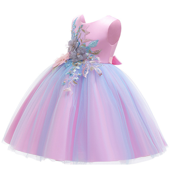 New pattern Girls Birthday Wedding Party Pageant Long Princess Dress Kid Christmas Costume Clothes Prom Dresses 4-14 years old 5