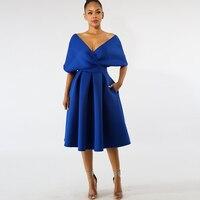 Dower Me Elegant Pleated Women Dress Off Shoulder V Neck A line White Vestidos Wedding Party Knee Length Midi Royal Blue Dresses