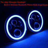 LED Headlight RGB Angel Eyes 7 Round Offroad Lights Hi Lo Beam DRL Wireless Bluetooth Phone