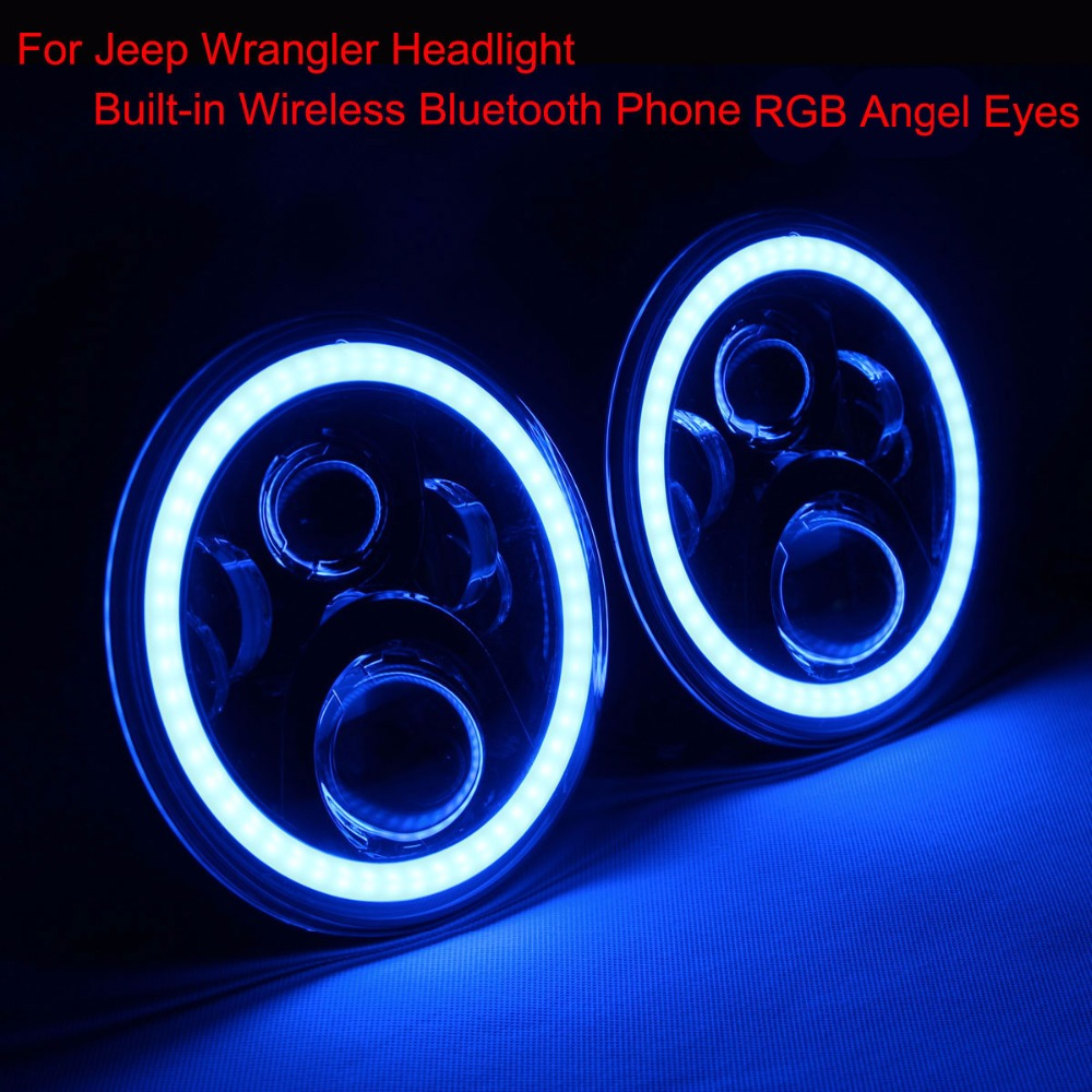 LED Headlight RGB Angel Eyes 7 Round Offroad Lights Hi/Lo Beam DRL Wireless Bluetooth Phone App For Jeep Wrangler 1997 2016