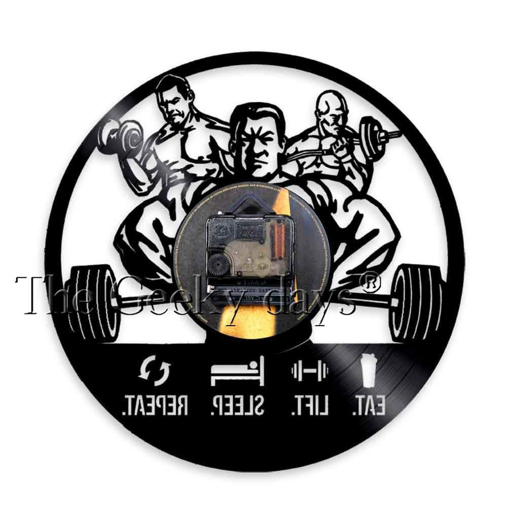 84ad9ca5d53 Melhor Comer Elevador Repetição Sono Mens Relógio de Parede Citações  Inspiradas de Fitness GYM Workout Muscle Men Musculação Disco de Vinil  Relógio de ...