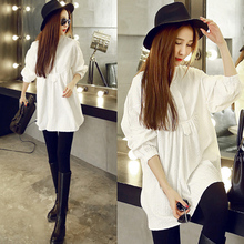 Hot sale Charming White Lace Maternity Tops Blouses Polo Shirts Long-sleeved Puff Maternity Blouse Casual Clothes plus size Sli