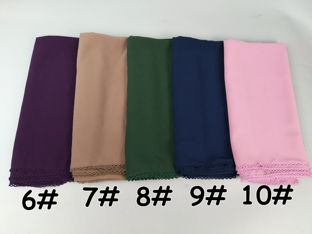 H2 20PCS High Quality Square Lace Edge Chiffon Hijab 145 * 145cm Wrap Shawls Women Scarves Long Scarf Shawl Top Sale